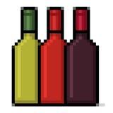 Arte del pixel delle bottiglie di vino Fotografia Stock Libera da Diritti