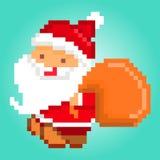 Arte del pixel, Santa Claus que entrega los regalos, tarjeta de Navidad Imágenes de archivo libres de regalías