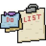 arte del pixel del vector para hacer la lista ilustración del vector