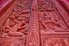 Arte del portone tailandese del tempio Immagini Stock