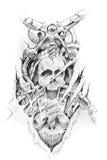 Arte del tatuaggio, abbozzo di una macchina Fotografia Stock Libera da Diritti