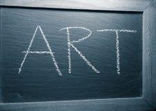 Arte del testo scritta a mano sulla lavagna in bianco e nero Fotografia Stock