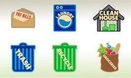 Arte del vector de las tareas de hogar del lío para las etiquetas engomadas y más del planificador Foto de archivo