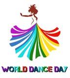arte del vector de un baile hermoso de la mujer con el vestido colorido ilustración del vector