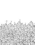 Arte del vector del edificio para la tarjeta, decotation Lineart blanco y negro, estilo del bosquejo Fotografía de archivo libre de regalías
