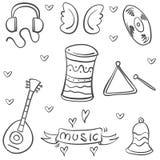 Arte del vector del tema del instrumento musical del garabato ilustración del vector
