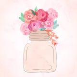 Arte dell'acquerello dipinta di bello fiore in barattolo watercolor illustrazione vettoriale