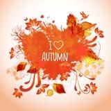 Arte dell'acquerello per le attività di autunno Fotografia Stock Libera da Diritti