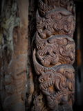 Arte dell'intaglio in legno all'installazione di arte di stile di fantasia della casa del nero di BAANDAMthe Fotografie Stock Libere da Diritti
