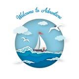 Arte della carta di stile di avventura della cartolina del mare illustrazione di stock