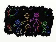 Arte della graffiatura - famiglia Immagini Stock