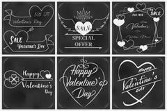 Arte della lavagna del biglietto di S. Valentino con i sesti elementi illustrazione vettoriale
