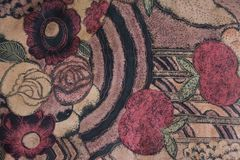 Arte della mela e della flora sul fondo del tessuto Fotografie Stock
