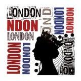 Arte della parete dell'estratto della regina di Londra Fotografia Stock Libera da Diritti