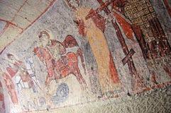 Arte della pittura di parete dell'affresco in caverne di Goreme Fotografie Stock