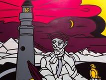 Arte della pittura: Faro, uomo con il cappello, uccello e luna Fotografie Stock