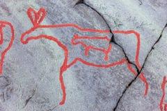 Arte della roccia di Alta Immagine Stock