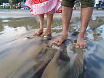Arte della sabbia dell'oceano Immagini Stock Libere da Diritti