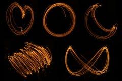 Arte della stella filante di forma e della luna del cuore Fotografia Stock