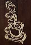 Arte della stringa della tazza di caffè Immagini Stock Libere da Diritti