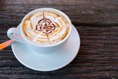 Arte della tazza del cappuccino Fotografia Stock