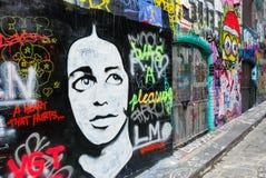 Arte della via - calzettaio Lane Melbourne - Australia Fotografia Stock Libera da Diritti