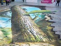 Arte della via che mostra illusione ottica Immagine Stock Libera da Diritti