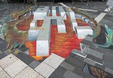 Arte della via che mostra illusione ottica Fotografie Stock