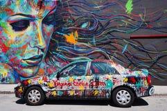 Arte della via dei graffiti nella vicinanza di Wynwood di Miami Fotografia Stock Libera da Diritti