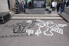 Arte della via del protestatario al movimento Anti alto della ferrovia di velocità, Hong Kong Immagine Stock