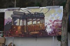 Arte della via delle linee tranviarie di Lisbona Immagini Stock
