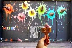 Arte della via di concetto del gelato Fotografia Stock Libera da Diritti