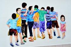 Arte della via di Ipoh: Nove bambini Fotografia Stock Libera da Diritti