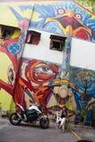 Arte della via nel fascino del Kampong, Singapore fotografia stock libera da diritti