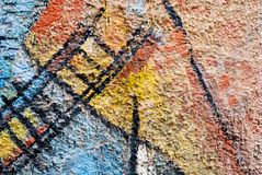 Arte della via - vecchio graffito sulla parete Immagine Stock