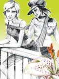 Arte desenhada de duas meninas Fotos de Stock Royalty Free