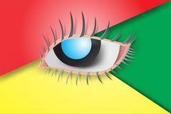 Arte di carta degli occhi blu con variopinto Fotografia Stock