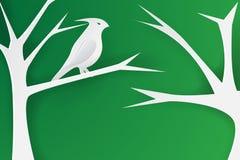 Arte di carta degli uccelli sui rami Immagini Stock