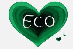 Arte di carta del cuore di verde di Eco Fotografia Stock Libera da Diritti