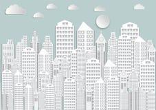 Arte di carta della città bianca con il cielo e le nuvole Priorità bassa dell'illustrazione di vettore Immagini Stock Libere da Diritti