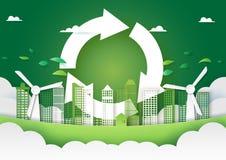 Arte di carta della città verde e riciclare il modello del fondo di concetto di energia immagini stock
