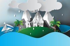 Arte di carta della stagione delle pioggie di vista del mare dell'isola Immagini Stock