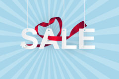 Arte di carta della vendita sul concetto di promozione del cielo, di acquisto e di affari Fotografie Stock Libere da Diritti