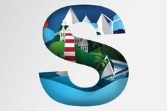 Arte di carta della vista del mare dell'isola, montagna Fotografie Stock