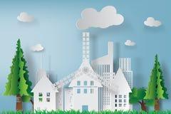 Arte di carta di paesaggio urbano bianco con il bello fondo del cielo blu Immagine Stock