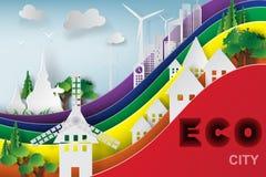 Arte di carta di paesaggio urbano con l'arcobaleno Immagine Stock