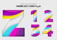 Arte di carta scolpita, progettazione della fonte Belle lettere 3D elaborate con illustrazione di stock