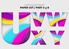 Arte di carta scolpita, progettazione della fonte Belle lettere 3D elaborate con royalty illustrazione gratis