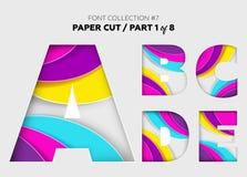 Arte di carta scolpita, progettazione della fonte Belle lettere 3D elaborate con Immagine Stock