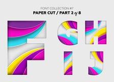 Arte di carta scolpita, progettazione della fonte Belle lettere 3D elaborate con illustrazione vettoriale